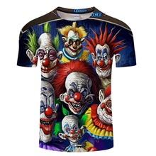 ピエロ Tシャツ男性ホラー美少女 3D Tシャツヒップホップの花ストリート恐(China)