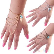Bohemian Leaf Turquoise Slave Hand Chain Harness Charm Vintage  Bracelets For Women B02 1MIX(China (Mainland))