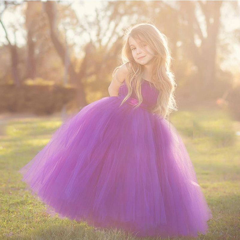 Girl Formal Dress Elegant Charming Bridesmaid Ankle-Length Ball Gown Baby Girls Tutu Party Dress For Wedding/Birthday 4 Colors(China (Mainland))