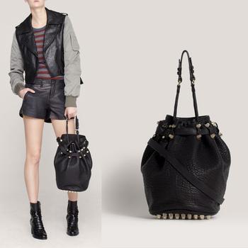New arrvial 2014 rivet women's handbag,casual Drawstring Bucket Bag,fashion messenger bag shoulder bags