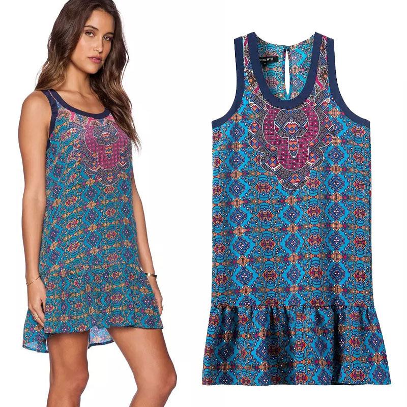 summer women print dress plus size 2015 mini floral beach. Black Bedroom Furniture Sets. Home Design Ideas