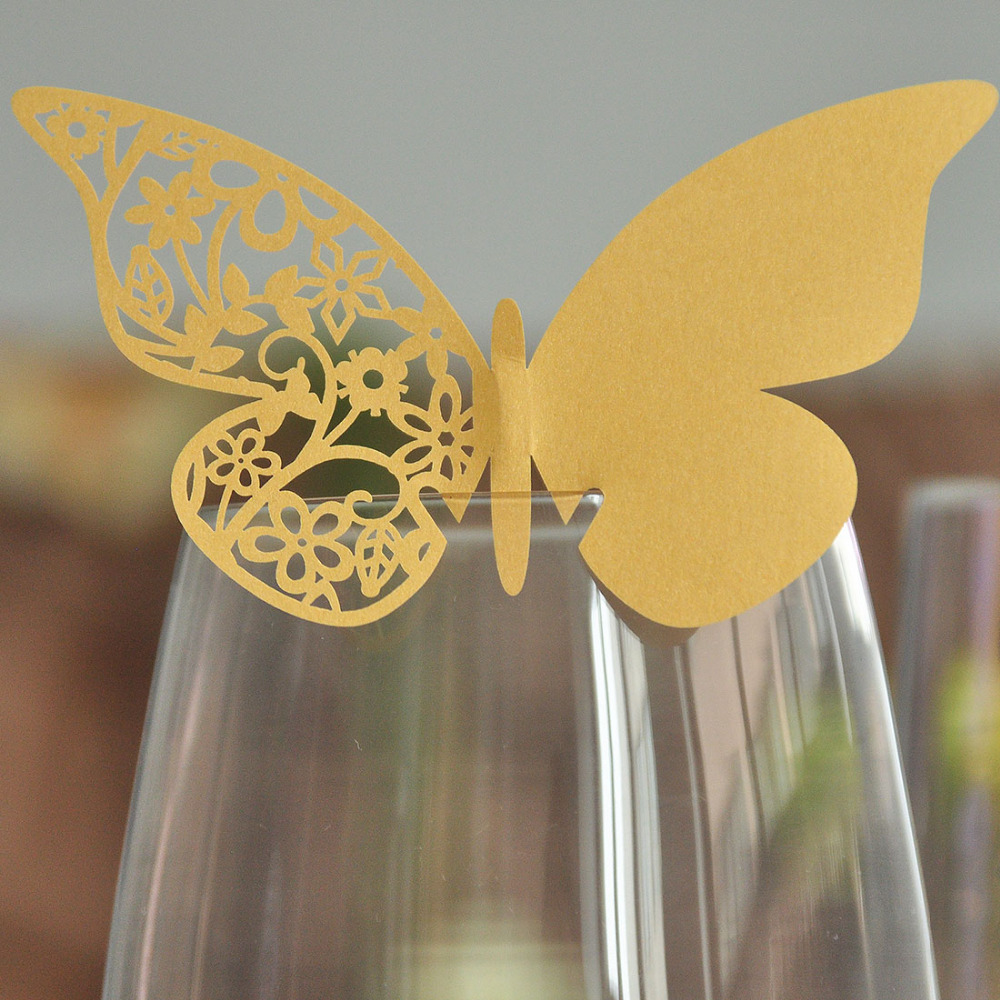 12pcs Gold Butterfly Laser Cut Paper Place Card / Escort Card / Cup Card/ Wine Glass Card For Wedding Decoration Favors(China (Mainland))