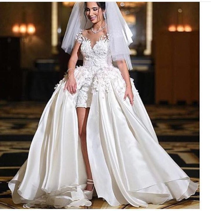 Мусульманин бальное платье Кружева Свадебные платья 2017 С Коротким рукавом Иллюзия Милая декольте Мода Vestido де Noiva Плюс размер R017