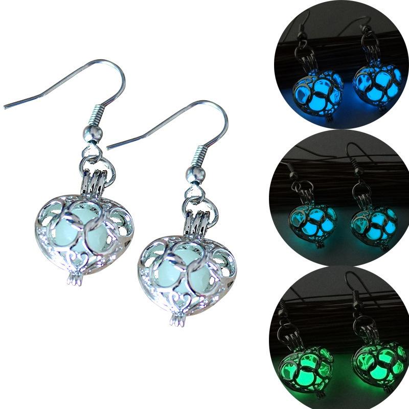 Silver Plated Glowing Stone Stud Earrings Locket Hollow Heart Glow In The Dark Earrings Jewelry For Women Luminous Earrings 2016(China (Mainland))