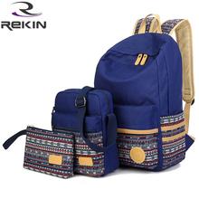 Fashion women canvas backpack  national school backpack bag for teenagers mochila feminine ethnic rucksack(China (Mainland))