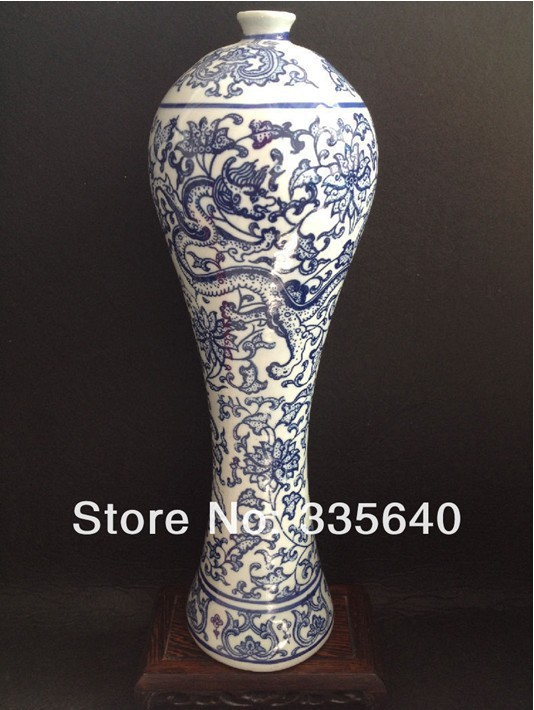 Free shipping chinese painting blue and white porcelain for Decorating with blue and white pottery