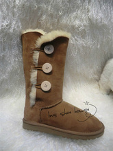 Top quality high boots big size sheepskin real wool 100% genuine flat Australia sewing comfortable snow boots(China (Mainland))