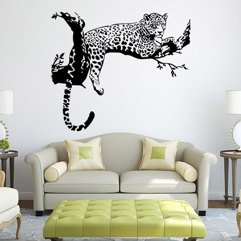 Cute tiger leopard waterproof wall sticker home decor for Living room wall decor