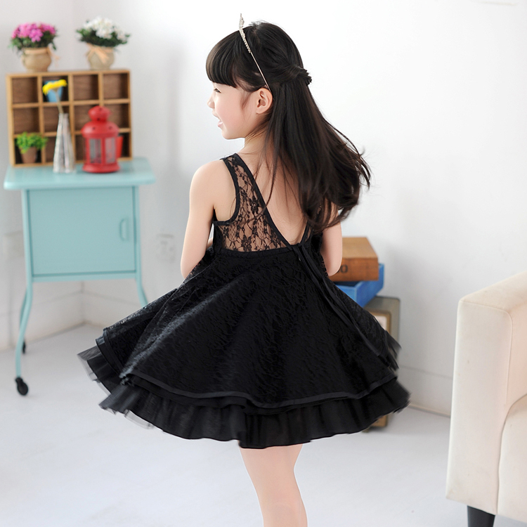 baby girls kids full lace dress ballet dresses summer clothing party dance , black/white/pink - UBABY KIDS CLOTHING STORE store