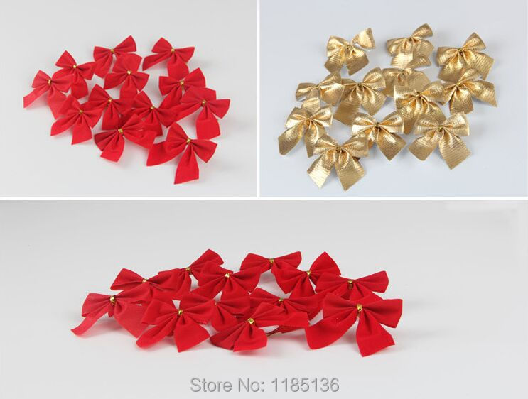 24 pcs Christmas Tree Decoration Bow Christmas Ornament Red Silver Yellow Color C001(China (Mainland))