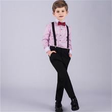 Envío gratis boda de la alta calidad para chicos chicos trajes camisas pantalones de la correa del arco 4 sets envío rápido(China (Mainland))