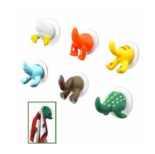 1XCartoon Lovely Animal Tail Rubber Sucker Hook Key Towel Hanger Holder Hooks BS179(China (Mainland))