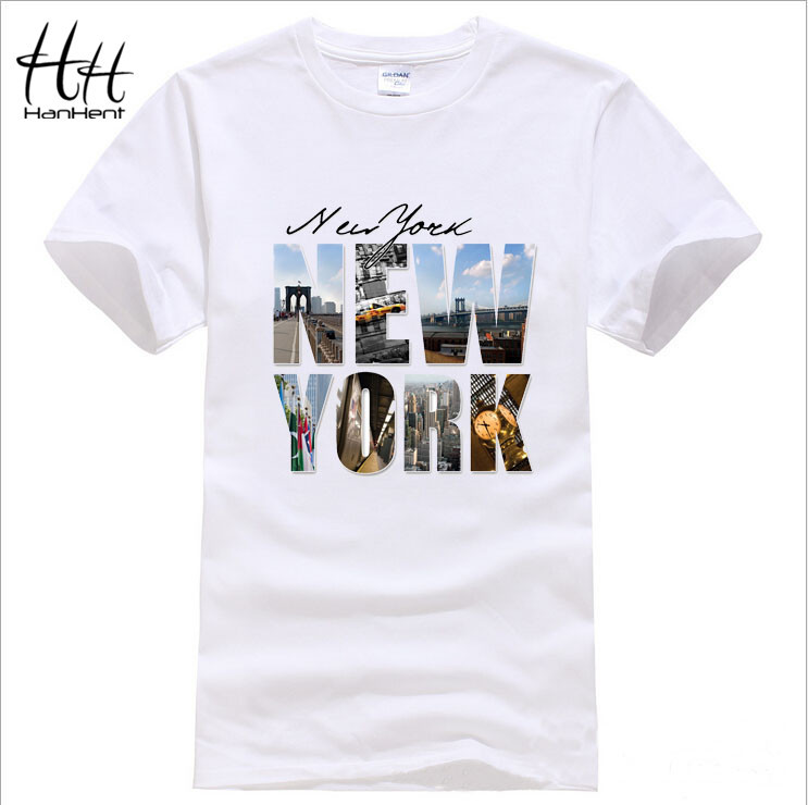 HanHent New brand High Quality New York Printed T-Shirt Short Sleeves 3d casual T shirts Men Summer Tops Tees TA0406(China (Mainland))