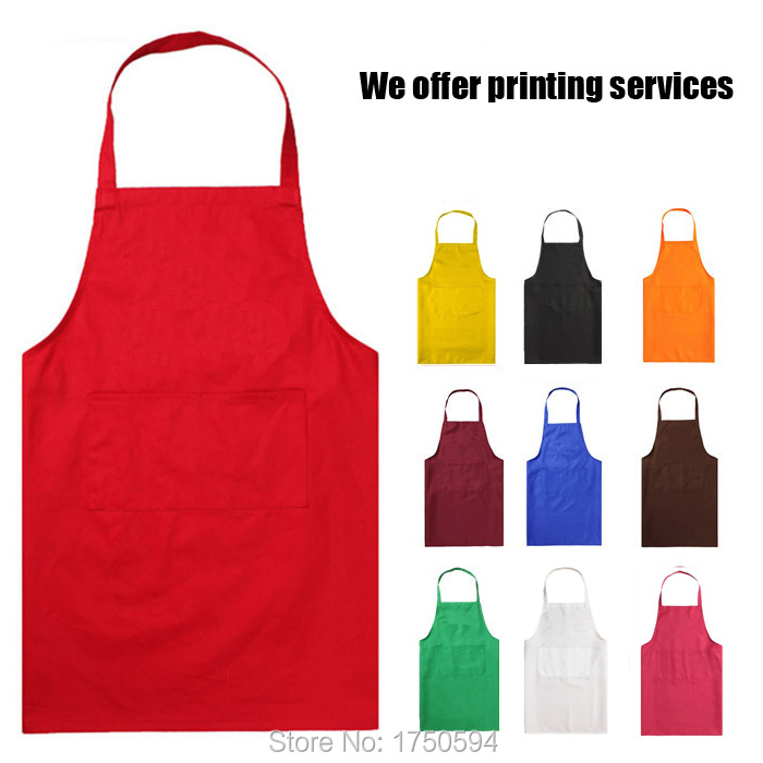 2015 Hot Sale Unisex Restaurant Home Kitchen Cooking Shop Craft Work Apron With Pockets Women Men Waiter Bibs Printing Logo(China (Mainland))