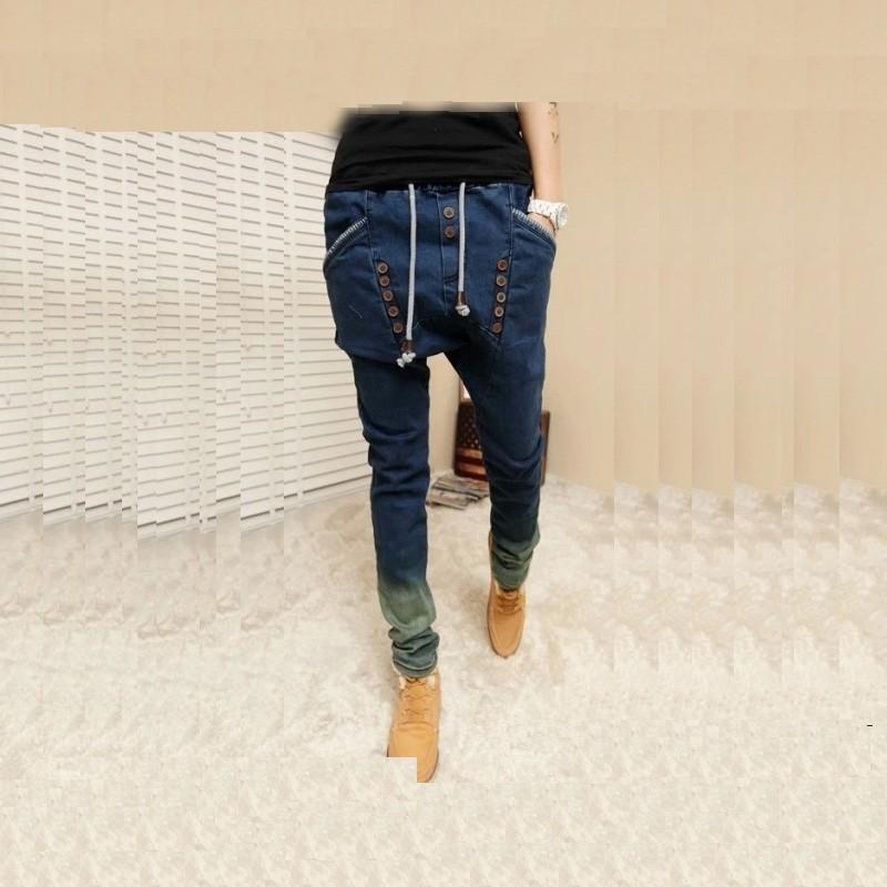 Скидки на 2015 мужской ХИП-ХОП Низкий Падения промежность jogger ДЛЯ мужчин джинсовые джинсы гарем хип-хоп танцевальная багги sarouel брюки pantalon Homme брюки