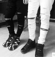 ripped jeans for men skinny Distressed biker jeans streetwear swag brand white black designer kanye west  #GM75(China (Mainland))