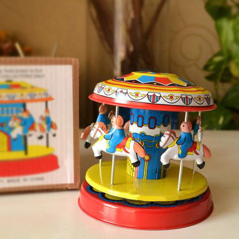 Retro Carrousel Tinwork Toys Collection Classic Tin Wind Up Toys For Children Vintage Handmade Crafts(China (Mainland))