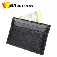 New Unisex Big Discount Genuine Leather Name Card Purse ID Credit Holders Wallet Bags Clip Free Shipping