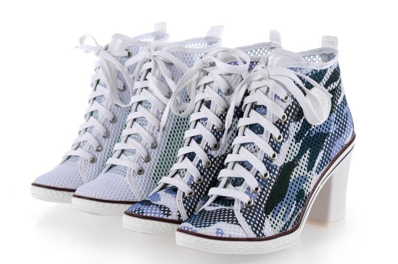 Фотография Free shipping 2016 spring casual fashion gauze high thick heels shoes round toe gauze high-heeled single shoes