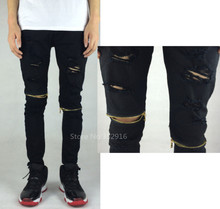 ripped jeans for men skinny Distressed slim famous brand designer biker hip hop swag tyga HBA  white black jeans kanye west (China (Mainland))