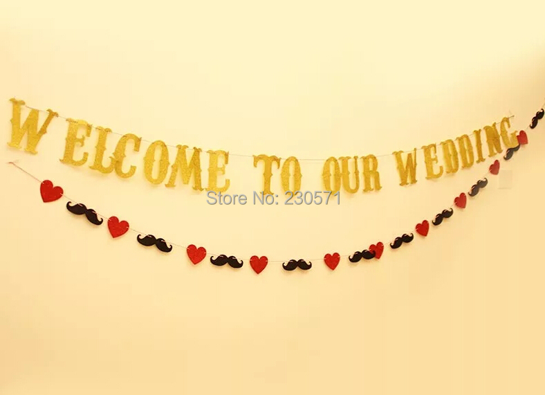 Welcome to Our Wedding Gold EVA Banner Set for Wedding Party Decoration Supplies Wedding Accessories Party(China (Mainland))