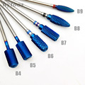 HYTOOS 5 Type Blue Tungsten Carbide Burrs Nano Coating Nail Drill Bit Metal Bits For Manicure