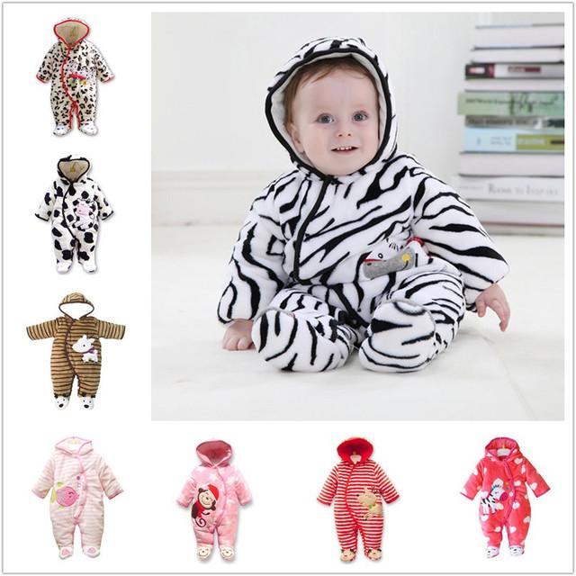 18m winter flannel thick baby rompers snowsuit zebra newborn baby