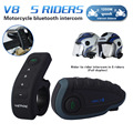 Remote Control V8 BT Interphone FM NFC Bluetooth Motorcycle Intercom Interphone 1200M Intercomunicador Headset For 5