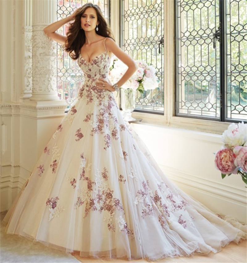 Online get cheap purple white wedding dress aliexpress for Purple lace wedding dress