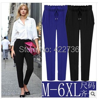 Plus size m- xxxxl 5xl 6xl 2015 spring/summer/autumn women capris drawstring trousers,for woman elastic cotton harem pants khaki  -  Mary Fashion Large Size Clothing Store ( S-10XL store)