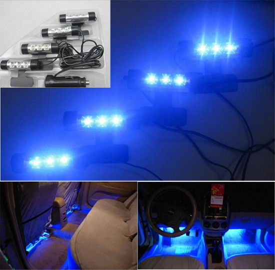 buy universal blue light car interior led atmosphere lamp 4in1 12v decoration. Black Bedroom Furniture Sets. Home Design Ideas