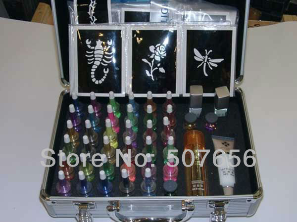 Wholesale 2 set 38 colors temporary tattoo body art deluxe for Cheap tattoo supplies free shipping