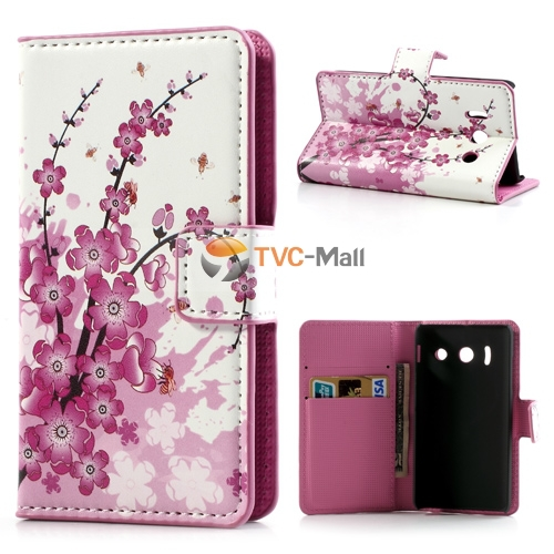 Pink Plum Card Slots Leather Case Stand Huawei Ascend Y300c U8833 - Fgs China store