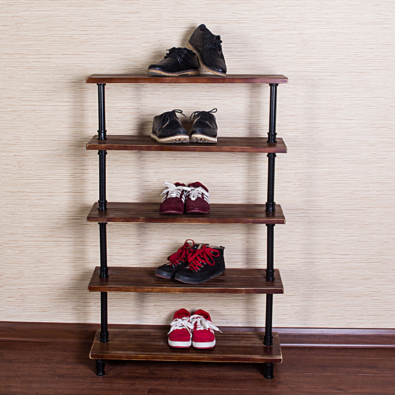 American iron wood shelf storage rack pipe rack rack storage rack sandals landing multilayer shelf(China (Mainland))