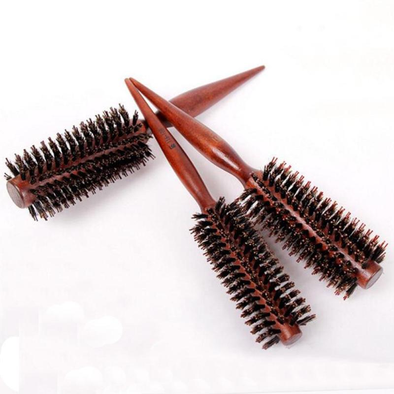 1Pc Brand Wood Handle Natural Boar Bristle Hair Brush Fluffy Comb Hairdressing Barber Hair Styling Tool RP1-5