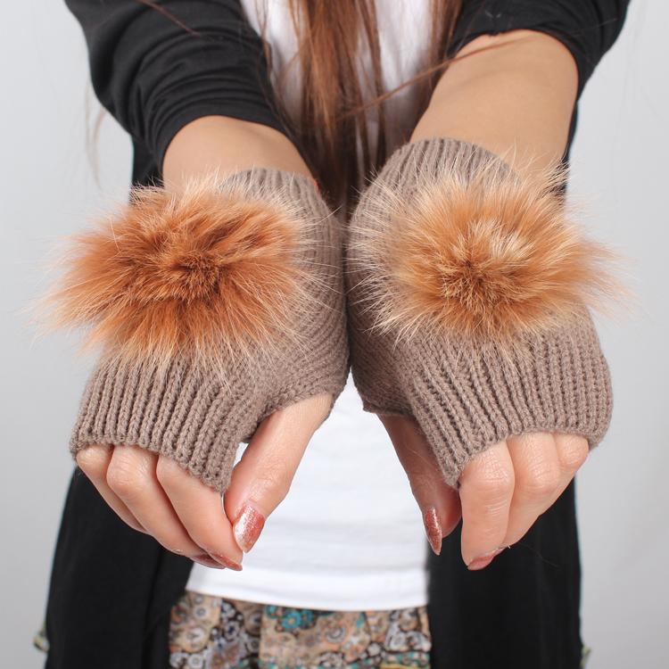 Autumn winter yarn gloves women's short design rabbit fur ball knitted semi-finger lovely paragraph - one joy store