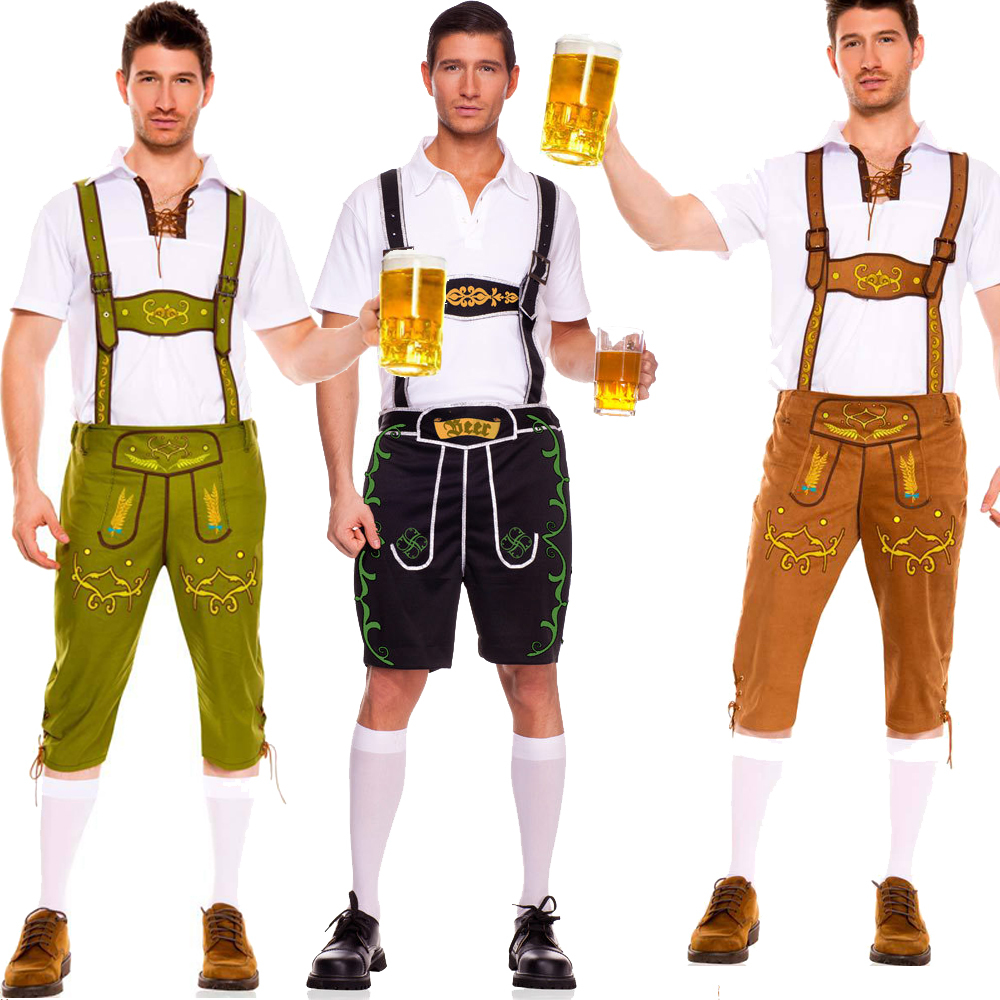 Plus Size M L XL Mens Bavarian German Lederhosen Beer Oktoberfest Suspenders Cosplay Costume Halloween Masquerade - Max Sexy Club store