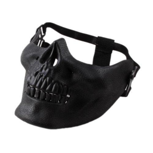 Costume Halloween Airsoft Skull Motorcycle Skull Skeleton Airsoft Hunting Biker Ski Half Face Protect Gear Mask Guard (Black)(China (Mainland))