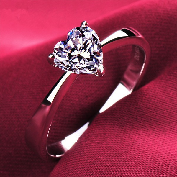 Memorable 2 Carat Heart Shape NSCD Synthetic Diamond Wedding Ring Forever love white Gold Cover Solid Sterling Silver Women Ring(China (Mainland))