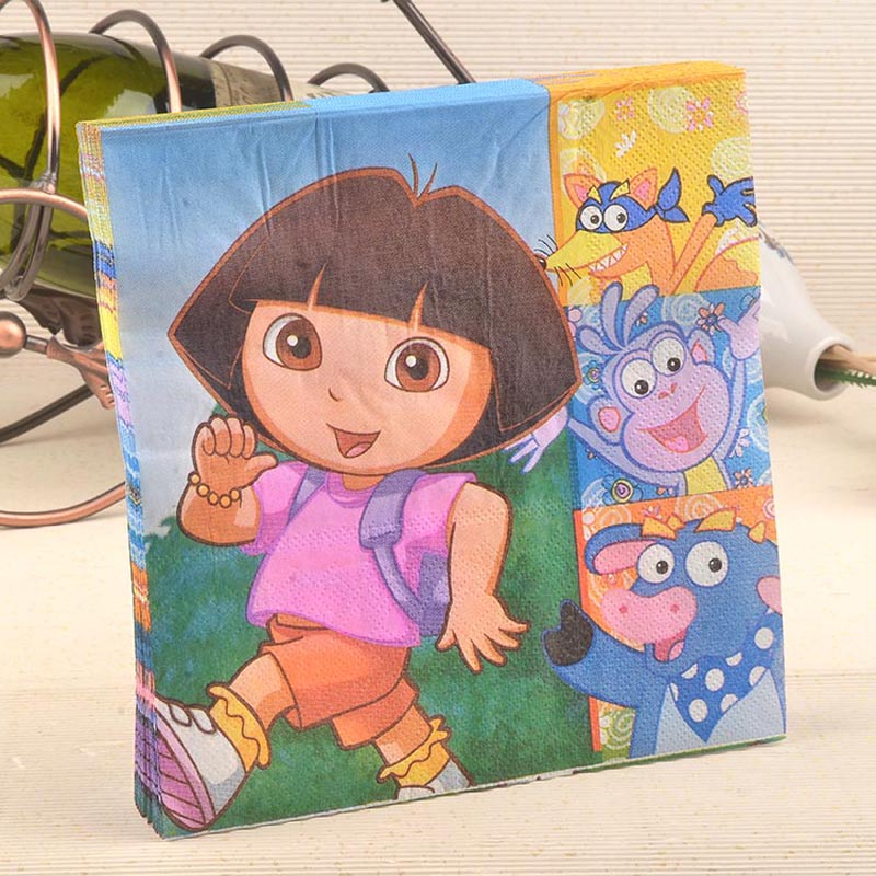 Dora Party Color Napkin Paper 100% Virgin Wood Tissue for Party Decoration Kids Fancy Party(China (Mainland))