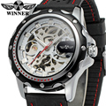 WRG8027M3T5 Winner brand Automatic men skeleton dress original watch with black silicone band free shipping with