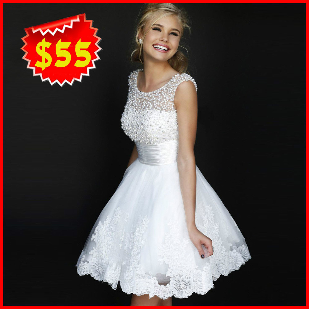 Buy New 2015 White Short Wedding Dresses