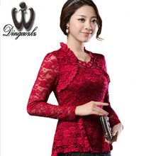Buy 2016 Plus size Women clothing Spring lace Shirt Tops Cutout basic female Elegant long-sleeve Lace Blouses shirts M-4XL for $12.55 in AliExpress store