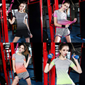 2016 New Arrival Gradient Colour Women Short Sleeve T Shirts Yoga Shirts Running Shirts Gym Fitness