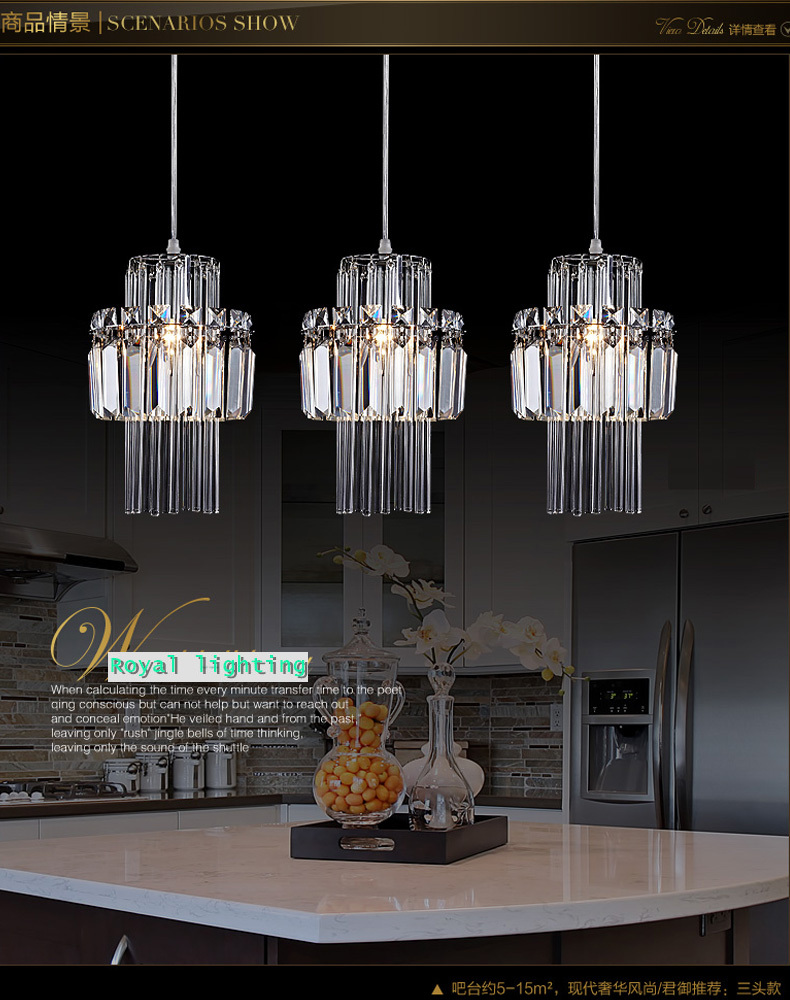 Buy Dining Room Pendant Crystal Lamp 3 Lights Hanging Lighting Restaurant