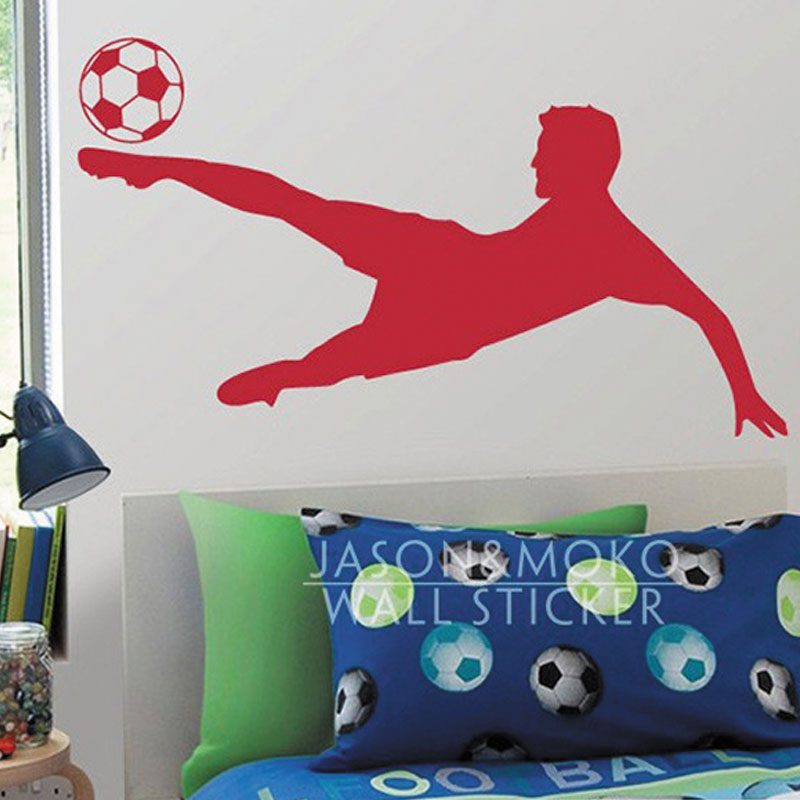 Soccer football player wall decal sticker wallpaper boys for Boys wall mural