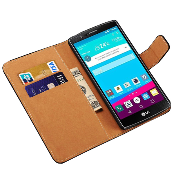 Luxury Genuine Leather Wallet Case for LG Optimus G4 Capa Flip Book Style Leather Caso for