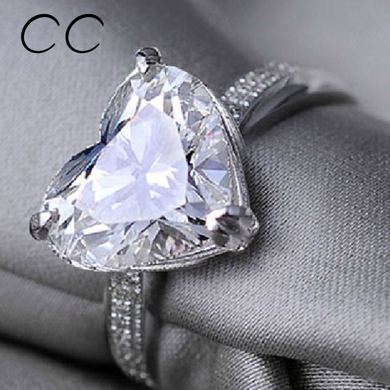 fashion jewelry shaped heart cz diamond promise ring
