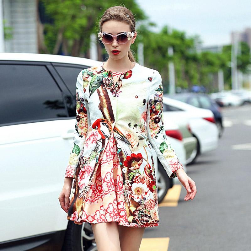 2015 womens fall fashion new women's runway temperament printing Slim trench coat Koala burderry
