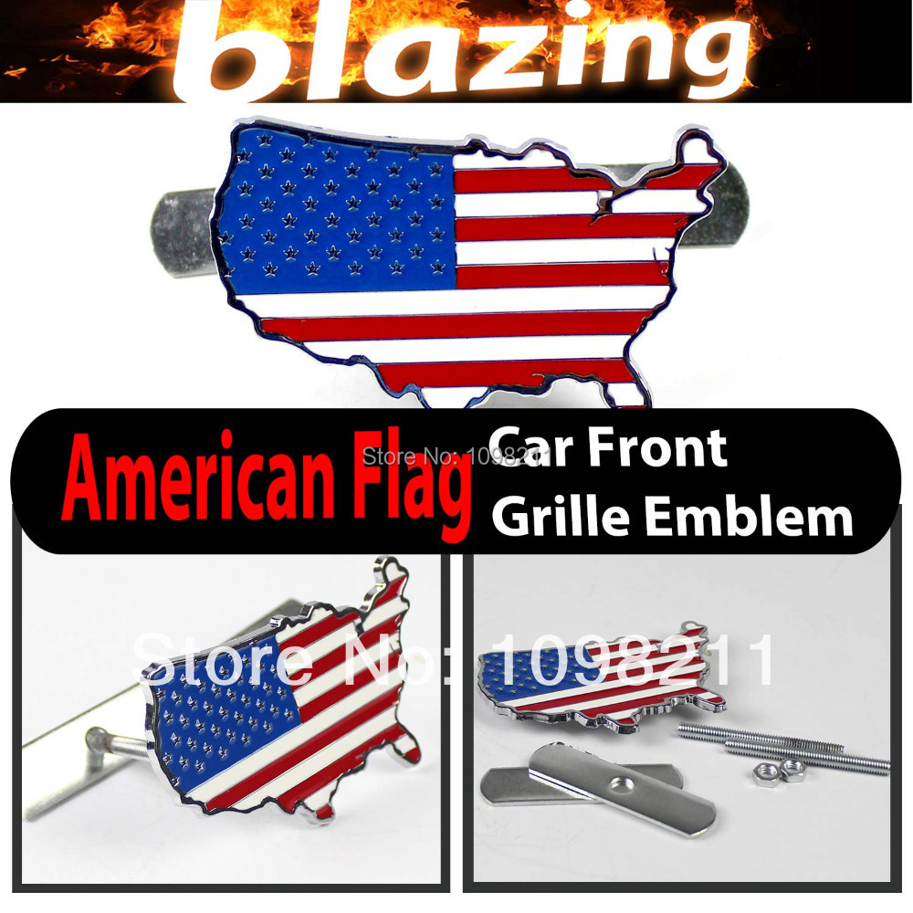 3D Metal American Flag USA Front Grille Grill Emblem Car Auto Turning Racing Running Body Kit Sticker Badge Logo Decal Emblem(China (Mainland))